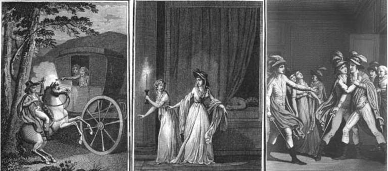 Frontispice du livre Les Mystères d'Udolphe, d'Ann Radcliffe, traduit par Victorine de Chastenay, Paris, Maradan, 1798, Tome I, II et III. |© Sapcall22/Wikicommons