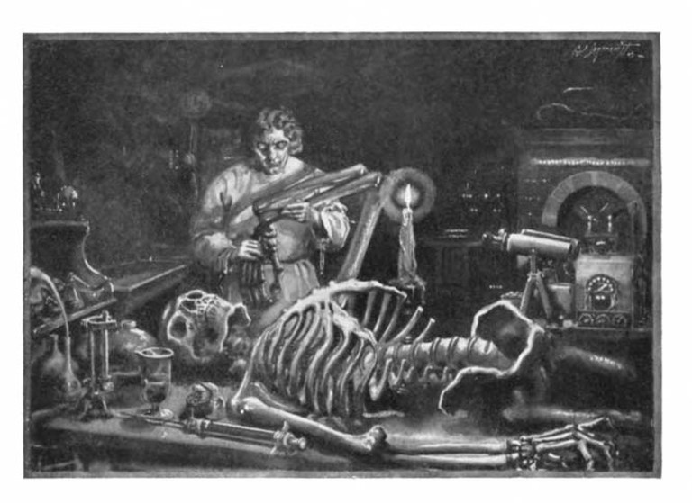 "Plate found on page 7 of Frankenstein, captioned ""FRANKENSTEIN AT WORK IN HIS LABORATORY.""