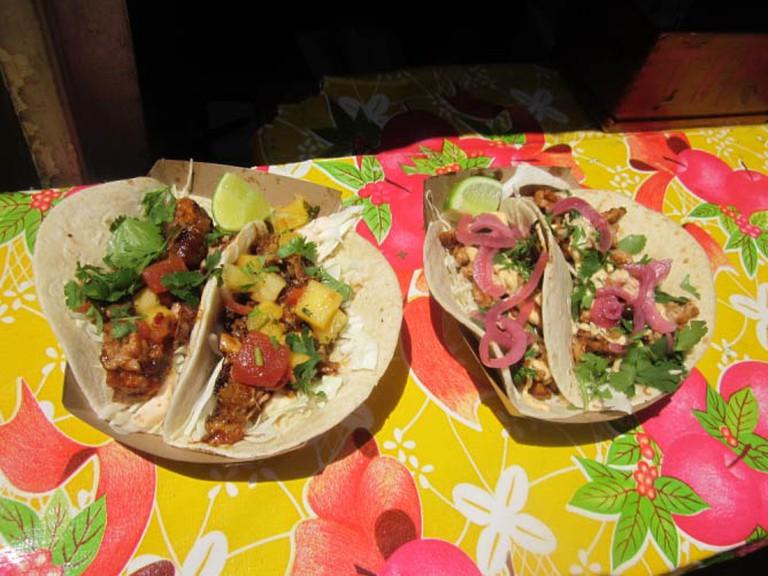 Kermit BBQ Pork and Seoul Man Chicken tacos