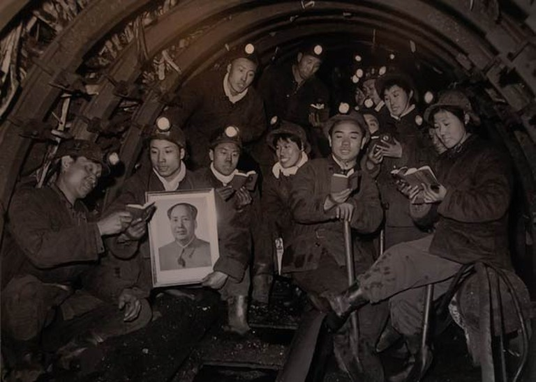 Coal miners reading from Mao's Little Red Book