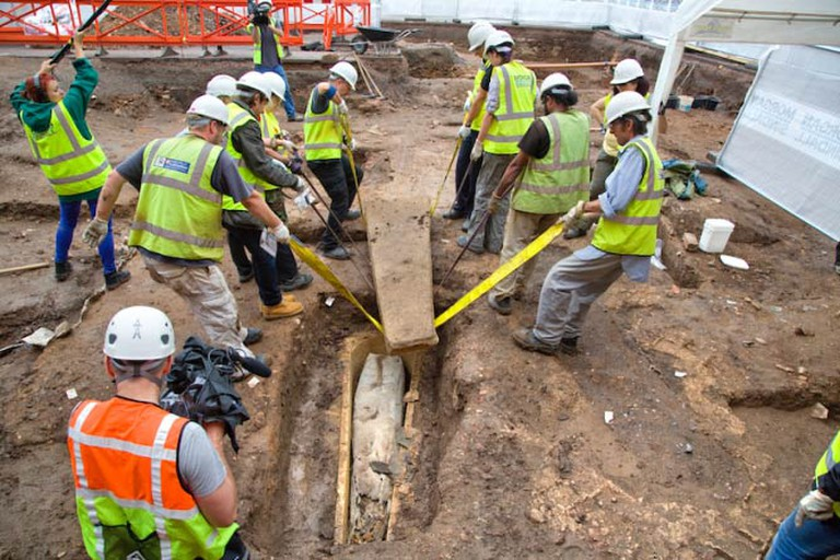 Archaeologists Open the Stone Coffin at the Greyfriars Archaeological Dig July 2013