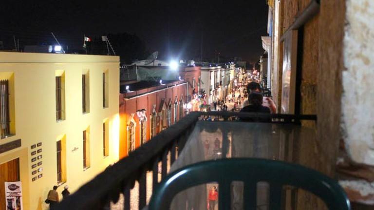 View of Oaxaca's pedestrian walkway from a café window