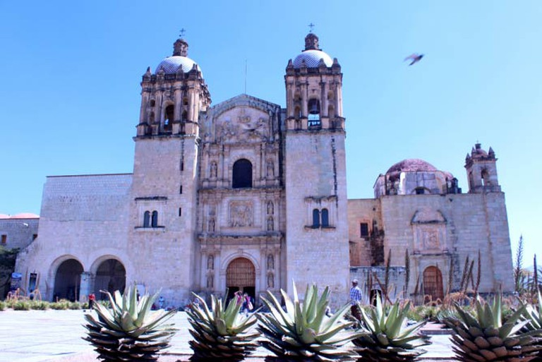 Front View, plaza of Templo de Santo Domingo against blue sky