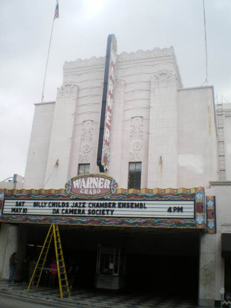 The marquee of the Warner Grand