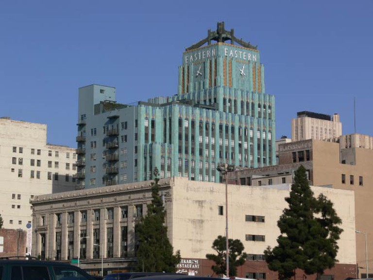 A long shot of the Eastern Columbia Building