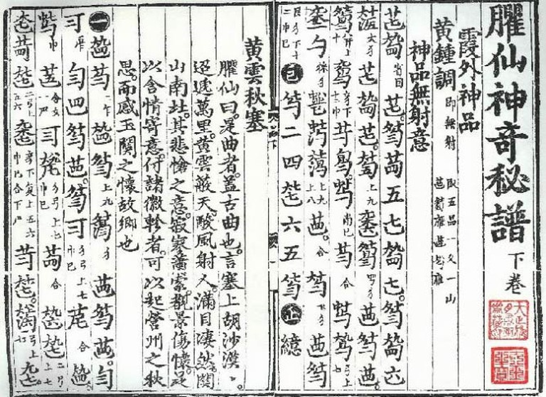 Shenqu Mipu, a music book teaching guqin technique |© Itsmine/Wikicommons