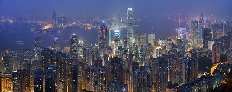 Skyline and Victoria Harbour of Hong Kong from the Victoria Peak
