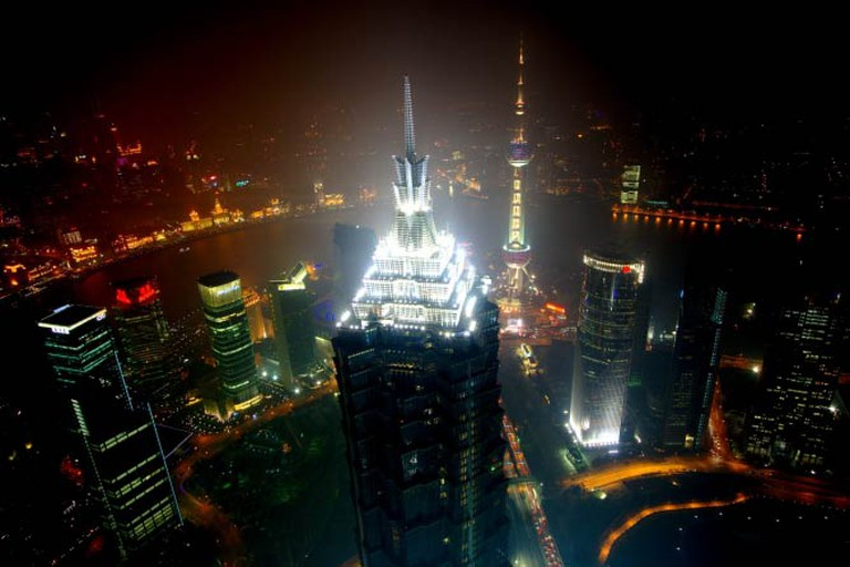 View of the Pudong area and the Bund at Puxi area from Shanghai World Financial Center