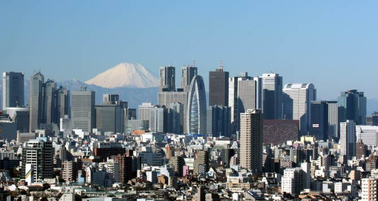 View of Shinjuku skyscrapers and Mount Fuji from the Bunkyo Civic Center in Tokyo