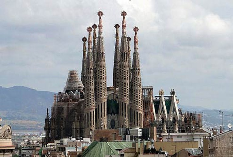 High view of Sagrada Familia from distance