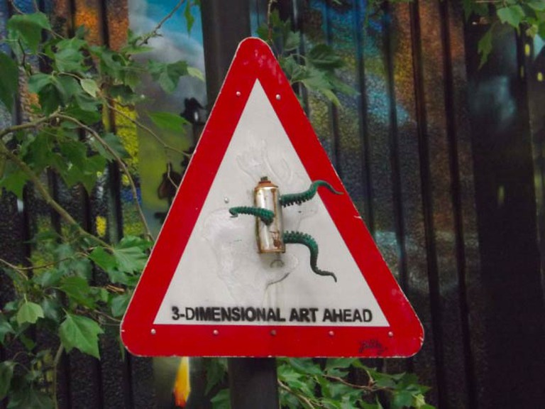 Sign at entrance of 'See No Evil' Graffiti Project, 2013 | © Samuel Spencer
