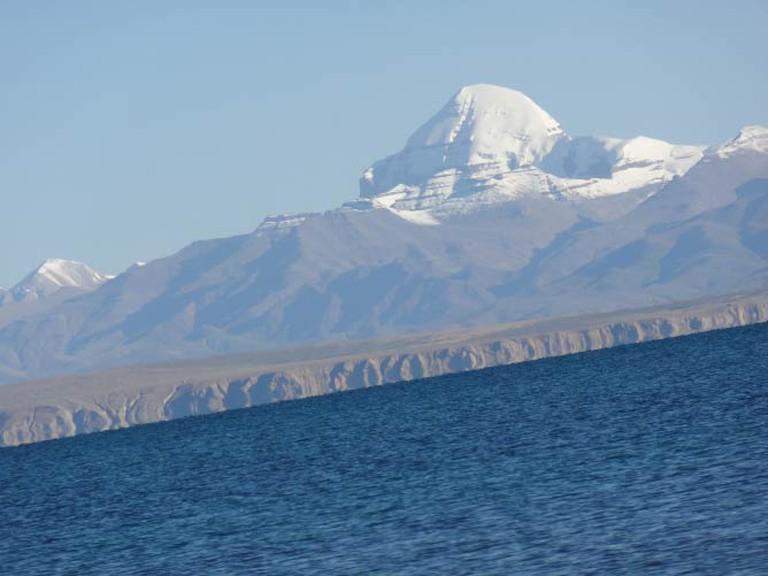 A view of Mount Kailash from Mansarovar Lake