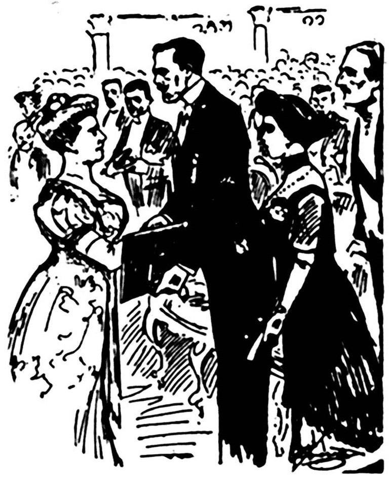 Selma Lagerlöf accepts the Nobel Prize from the swedish king Gustav V, December, 11 1909 | Illustration from a Swedish newspaper/WikiCommons