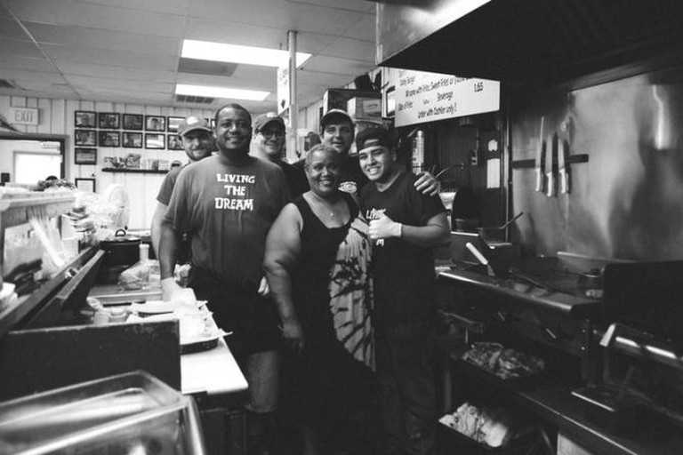 Owner Doug Havron and co. at Gabby's Burgers. Photo by Ben Lehman