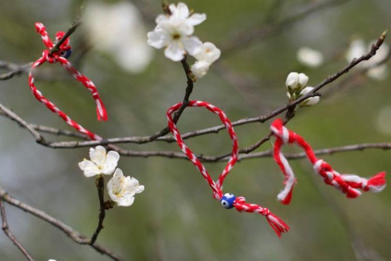Three Martenitsas hanging on a blossoming tree | © Jeroen Kransen/Flickr