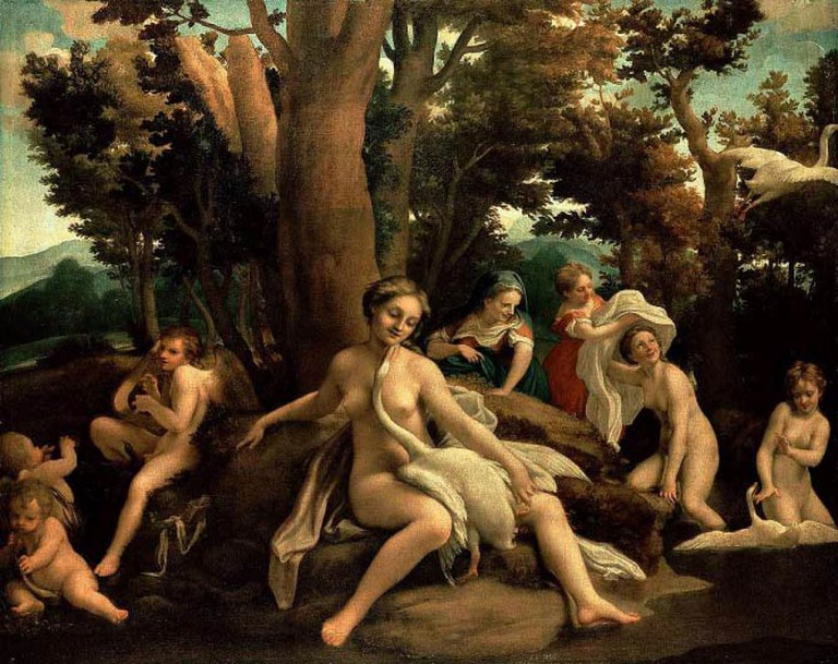 Correggio, Leda and the Swan, Oil on Canvas, 152cm x 191cm, 1531-2 | Public domain