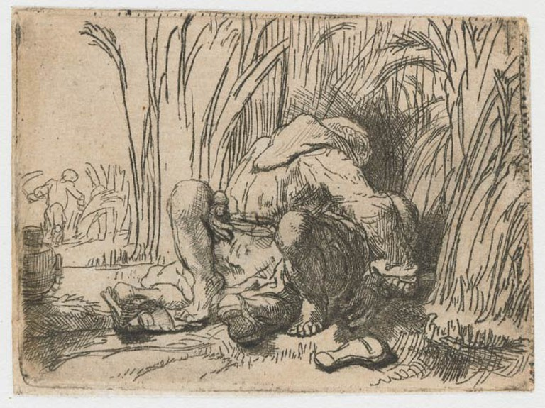 Rembrandt, The Monk in the Cornfield, Etching and Drypoint on Paper, c. 1646 | Public domain