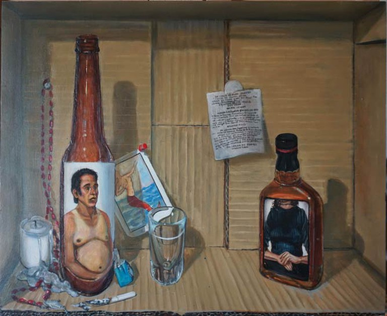 Bottle Arrangement. Oil on wood, 14.5 x 18 in., 2001.