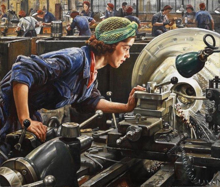 Loftus was 'an outstanding factory worker'. Knight expected to do a studio portrait but the Ministry of Supply requested that she be painted at work in the Royal Ordnance Factory in Newport.   Imperial War Museum