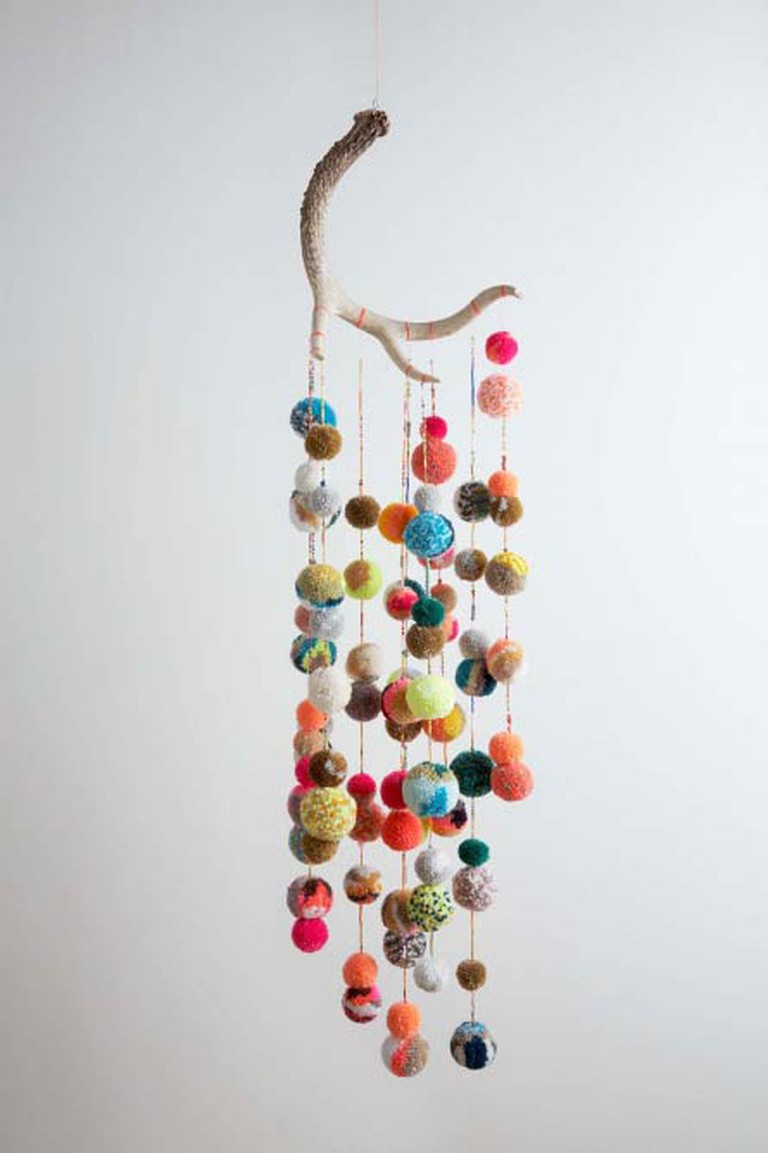 Deer Antler Multicolor Pom Pom Mobile