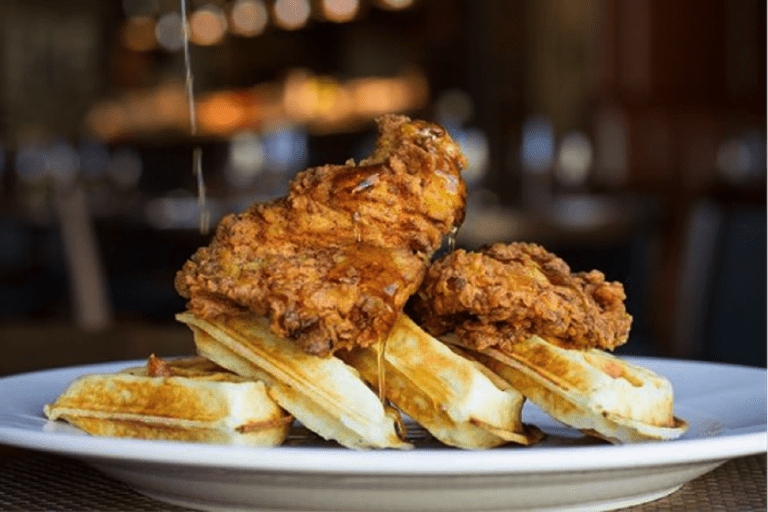 Chicken and Waffles Courtesy of Oak Steakhouse