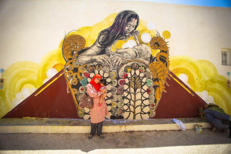 Mural in the Djerbahood Project by artists Swoon and Monica Canilao | Photo © Aline Deschamps - Galerie Itinerrance