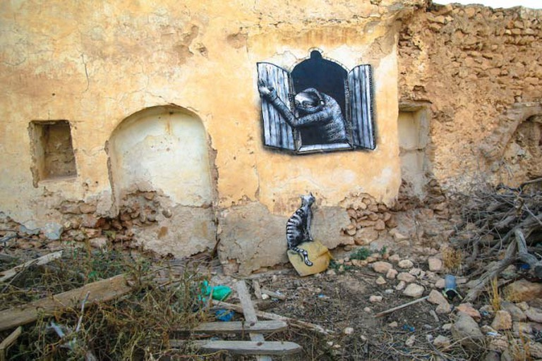 Mural in the Djerbahood Project by artist Phlegm   Photo © Aline Deschamps - Galerie Itinerrance