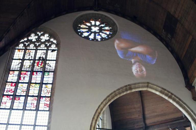 Tony Oursler at Oude Kerk. Photo: Dimer van Santen