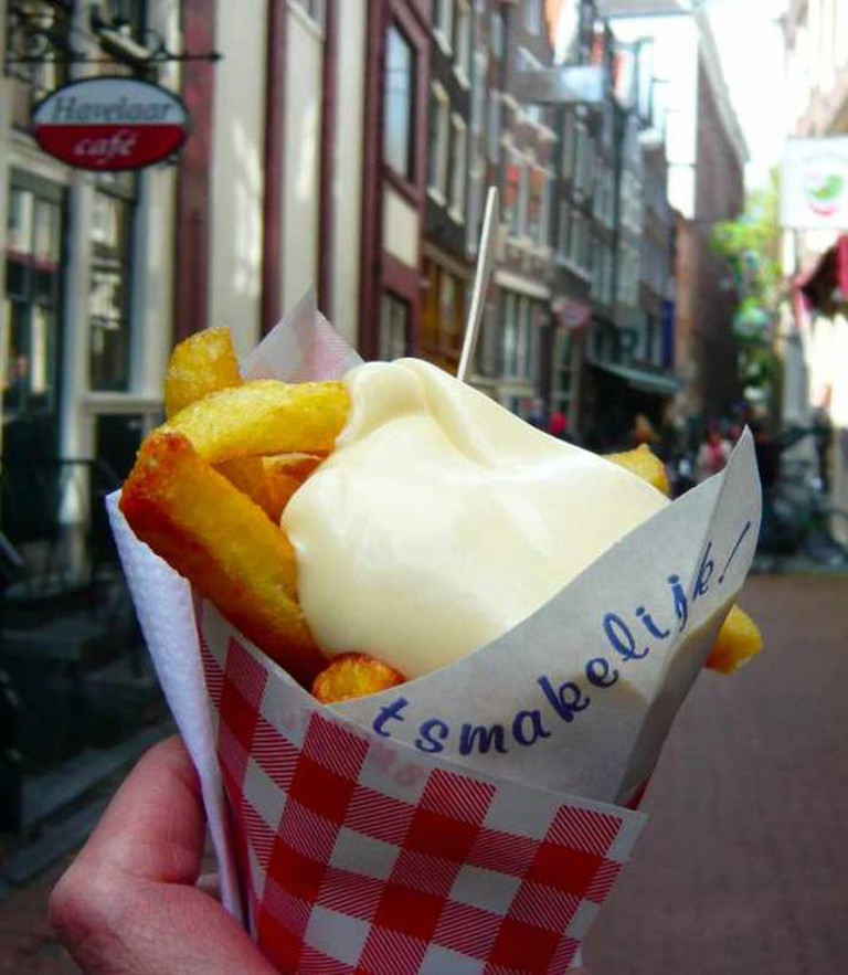"Freshly fried Frites with ""fritessaus""!"