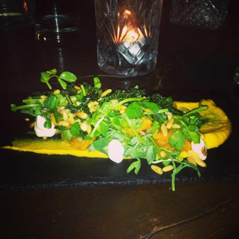 Pumpkin salad with goat cheese, crispy black cabbage and pine nuts @ PortSide Parlour