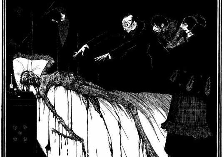 "Illustration for Edgar Allan Poe's ""The Facts in the Case of M. Valdemar"" by Harry Clarke (1889-1931). Published in 1919 