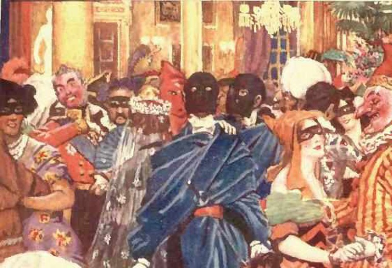 "Byam Shaw's illustration for Poe's William Wilson in ""Selected Tales of Mystery"" (London : Sidgwick & Jackson, 1909) on the frontispiece with caption ""A masquerade in the palazzo of the Neapolitan Duke Di Broglio""