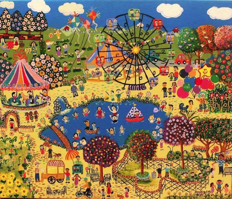 America Perez, Our Village Fair, 2014, acrylic on canvas, El Salvador|Courtesy GINA