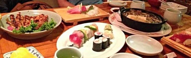 Chicken teriyaki, sashimi, sukiyaki, rainbow and Hamachi rolls at Miraku in Walnut Creek | © Allie Tao