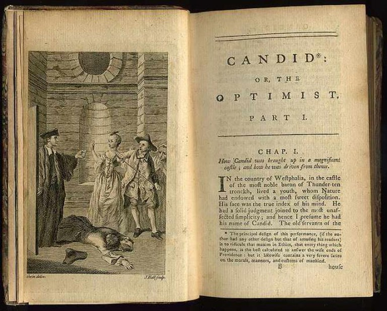 Frontispiece and first page of an early 'Candide' | Public domain/WikiCommons