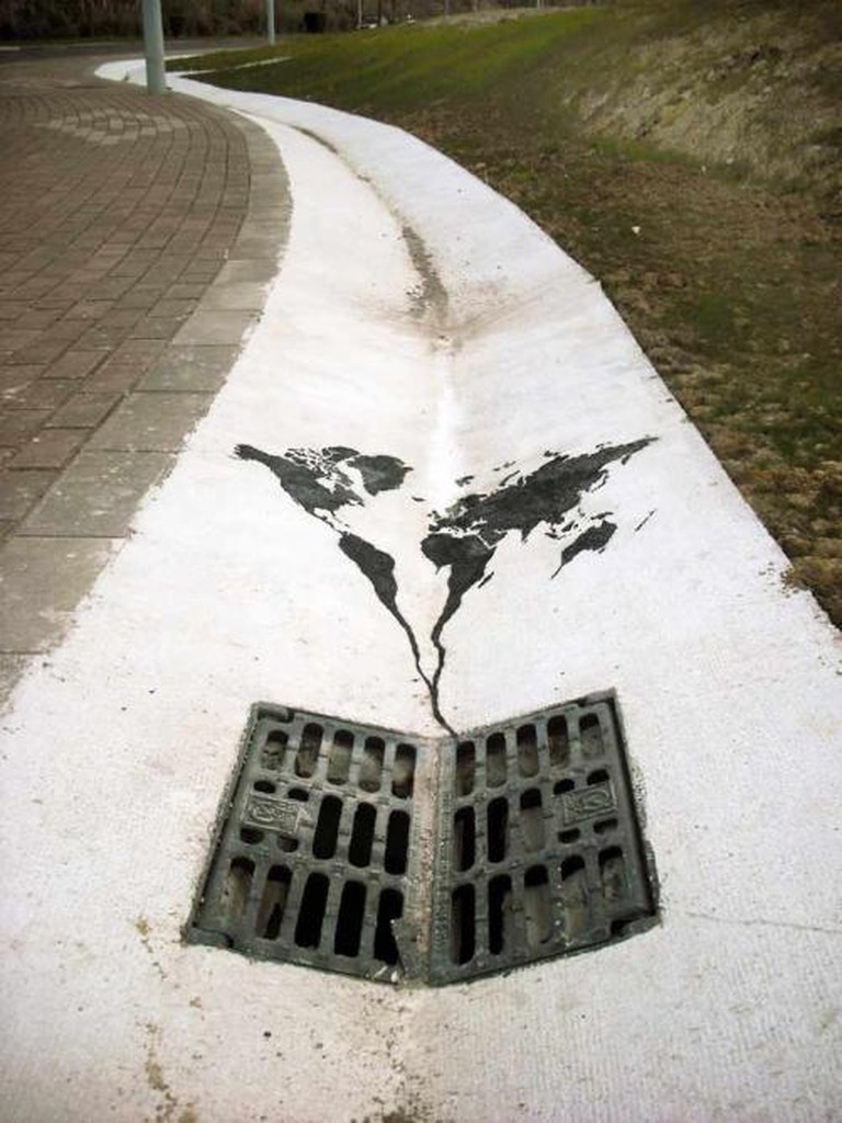 'The World is Going Down the Drain' by Pejac | © tomtomtomharvey/Flickr