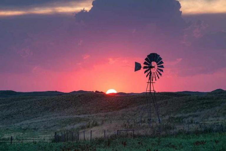 Windmill at sunset, Valentine