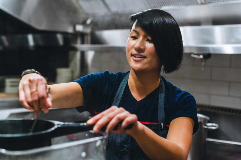 Chef Melissa King in the kitchen for Co+Lab / Photograph by Albert Law