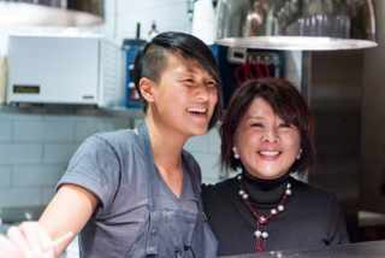 Chef Melissa King with her Mom, Alice Man