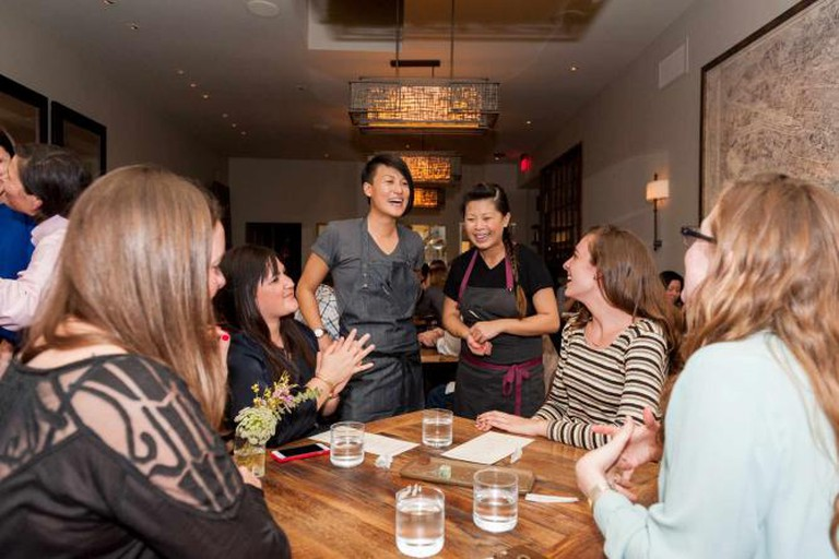 Chef Melissa King with Chef Mei Lin at Co+Lab / Photograph by Albert Law