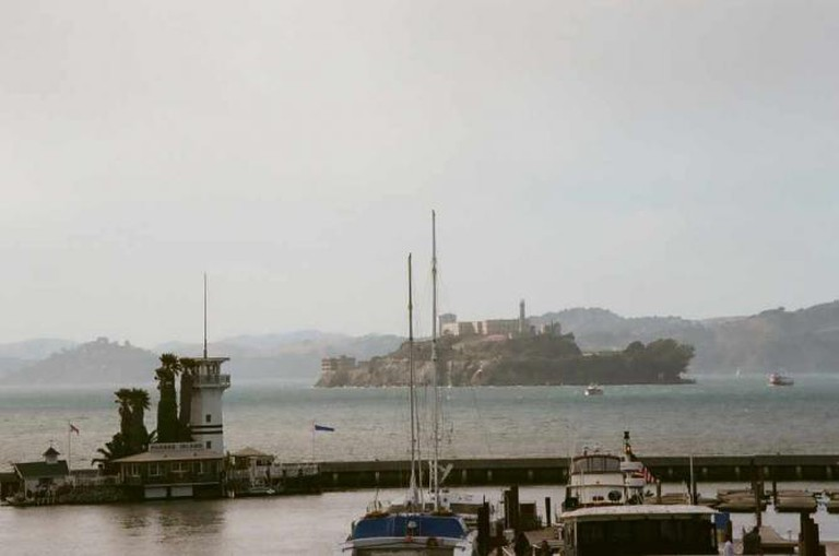 Forbes Island's prime spot overlooking Alcatraz and the wharves of SF.