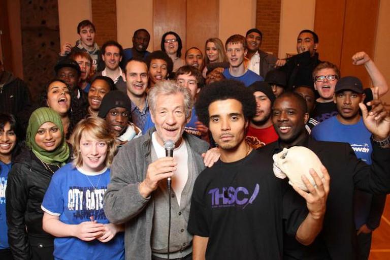 Sir Ian McKellen joins Akala for a workshop  © THSC
