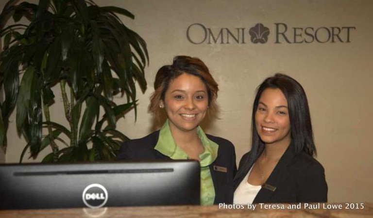 The friendly front desk staff at Omni Rancho Las Palmas in Rancho Mirage, CA