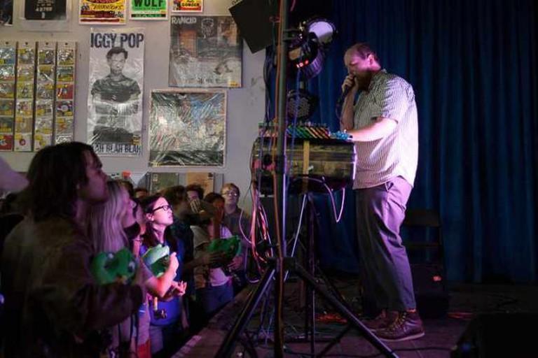 Dan Deacon performs at Amoeba Music in San Francisco.
