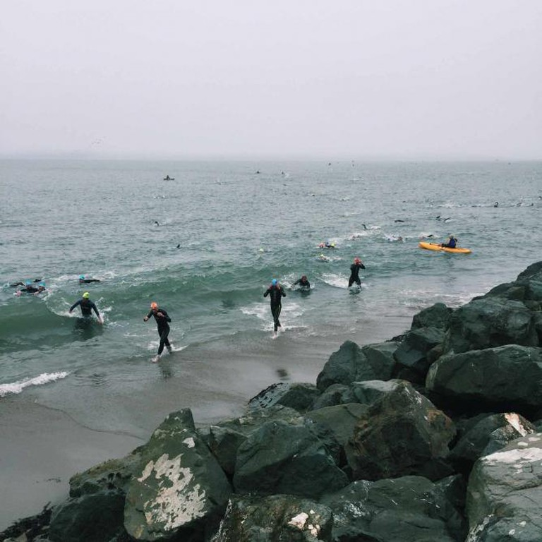 200 swimmers per minute exit the Bay