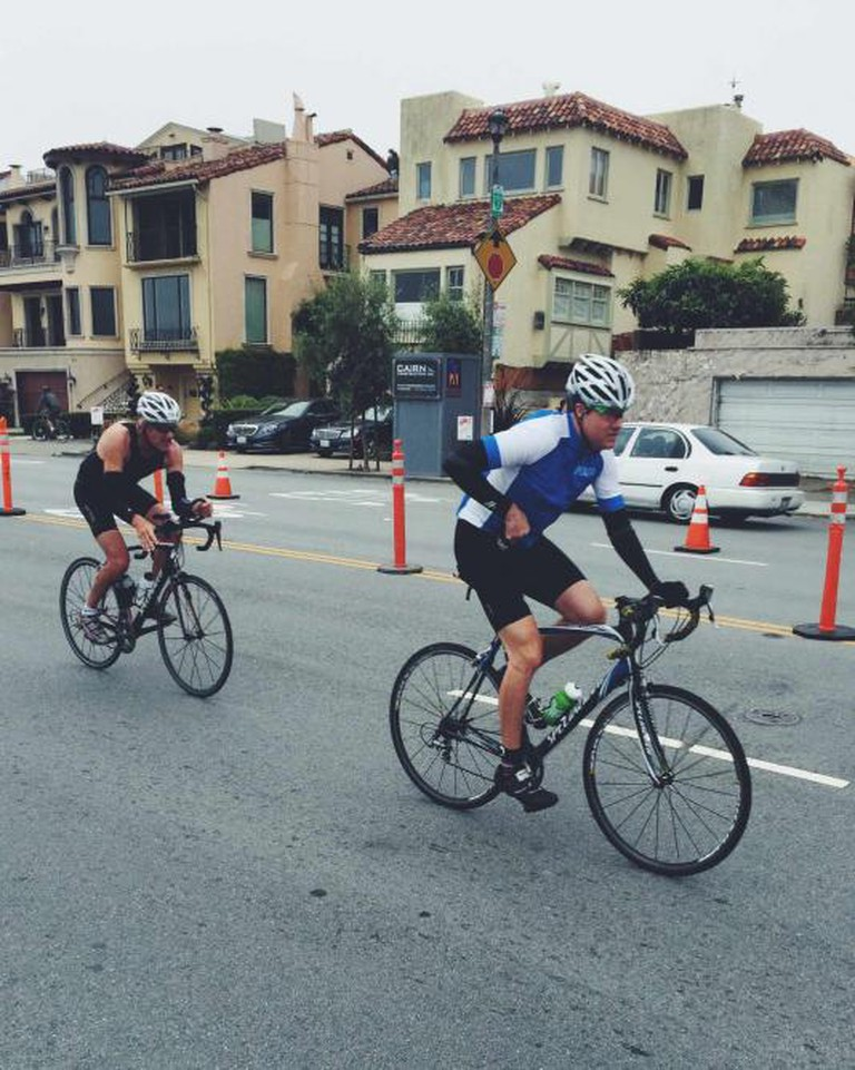 Triathletes begin bike portion of race