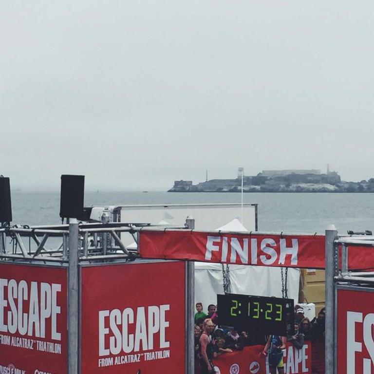 The finish line overlooking Alcatraz Island