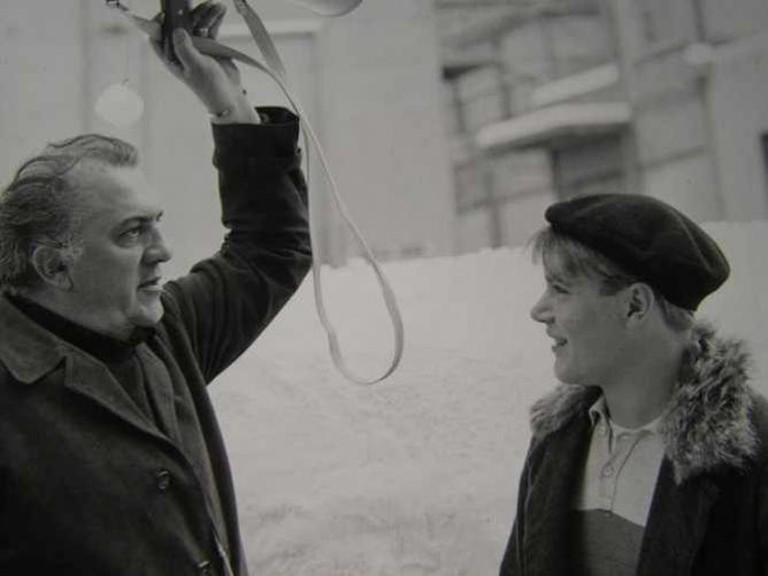 Fellini during the filming of 'Amarcord'
