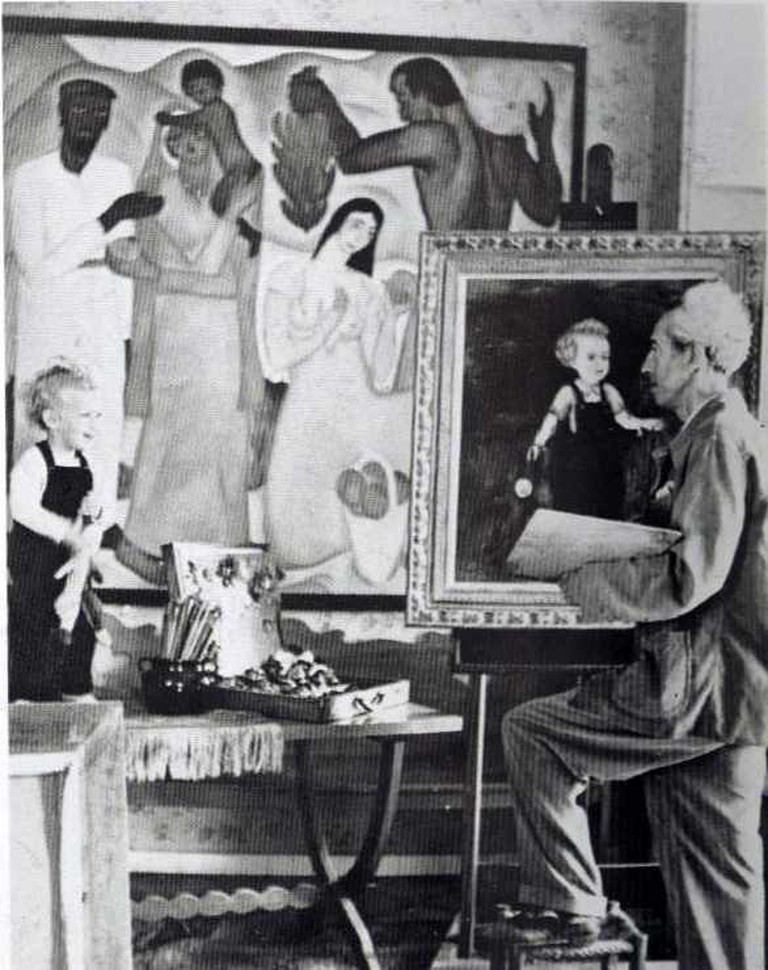 Reuven Rubin painting his son