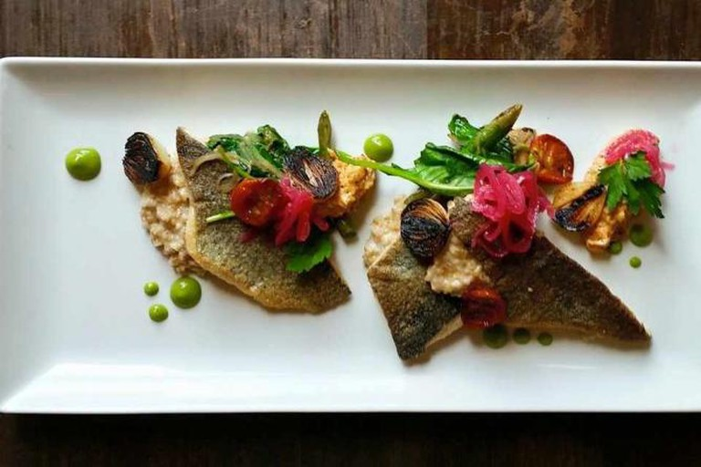 Trout w rolled oats risotto | Courtesy of Root 174
